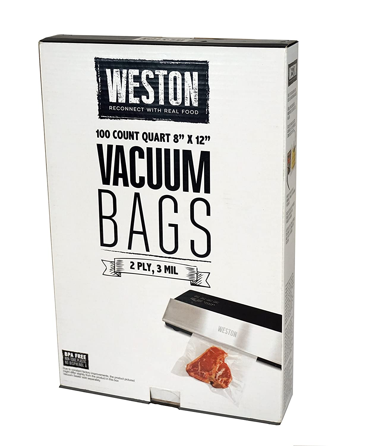 Weston 8-by-12-Inch Vacuum-Sealer Food Bags, 100 Count (30-0101-W)