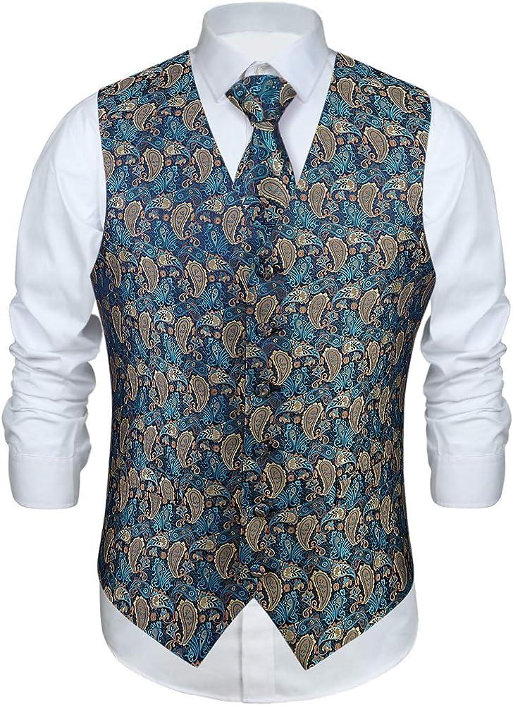 Enlision Chaleco y Corbata Floral Jacquard Paisley para Hombre y Traje de Chaleco Cuadrado: Amazon.es: Ropa y accesorios