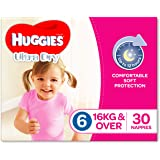 Huggies Ultra Dry Nappies, Girls, Size 6 Junior (16kg+), 30 Count