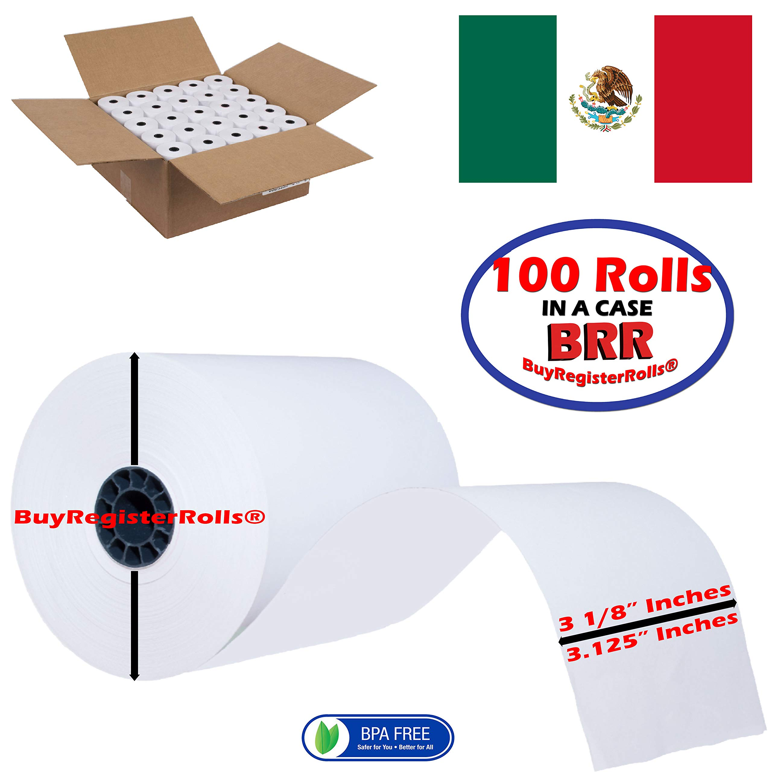 3 1/8 x 230 Thermal Paper roll 100 Pack | More Paper Than Others | Super Saver Value Pack | from BuyRegisterRolls by BuyRegisterRolls