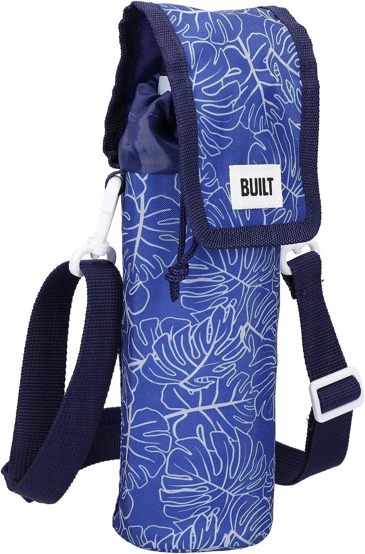 BUILT Insulated Bottle Bag with Shoulder Strap & 'Abundance' Design, 100 percent Polyester with Food Safe PEVA Lining, Navy Blue, 9 x 11 x 25cm