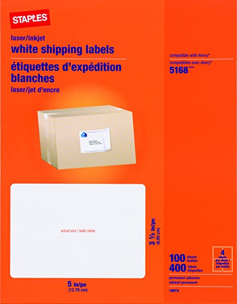 Staples White Inkjet/Laser Shipping Labels, 3 1/2