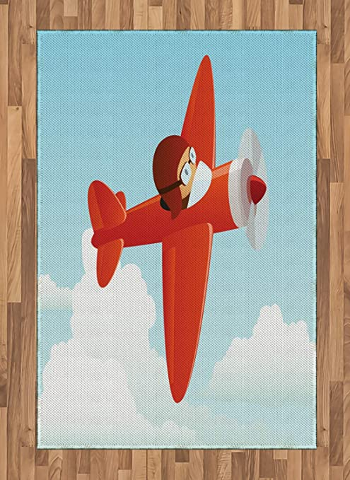 Ambesonne Plane Area Rug Airplane Flying In The Cloudy Sky Little Boy Pilot Baby Children Cartoon Print Flat Woven Accent Rug For Living Room Bedroom Dining Room 4 X 5 7 Orange