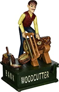 "Design Toscano SP2052 Recurrent Motion ""Woodcutter"" Bank,full color"