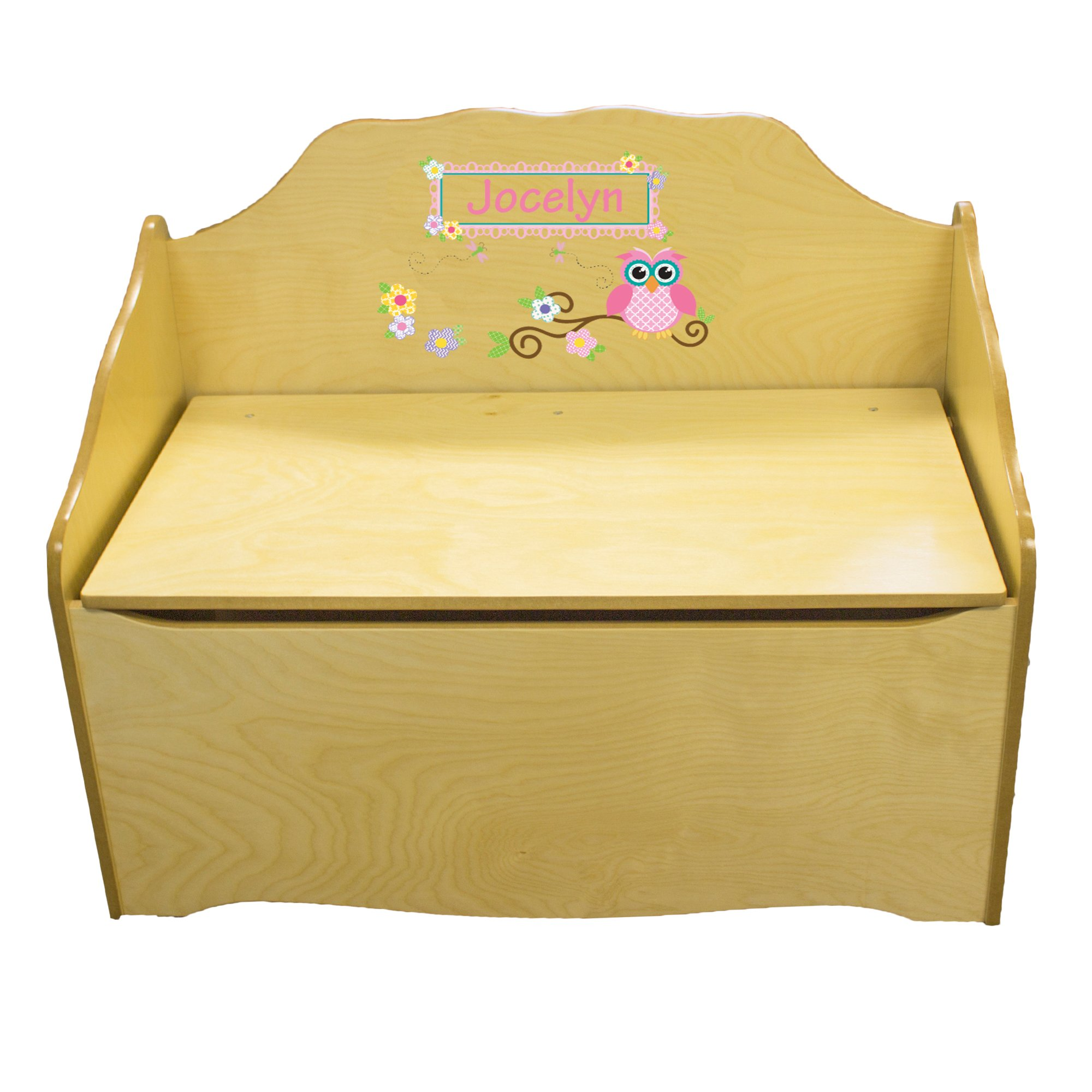 Personalized Pink Owl Childrens Natural Wooden Toy Chest