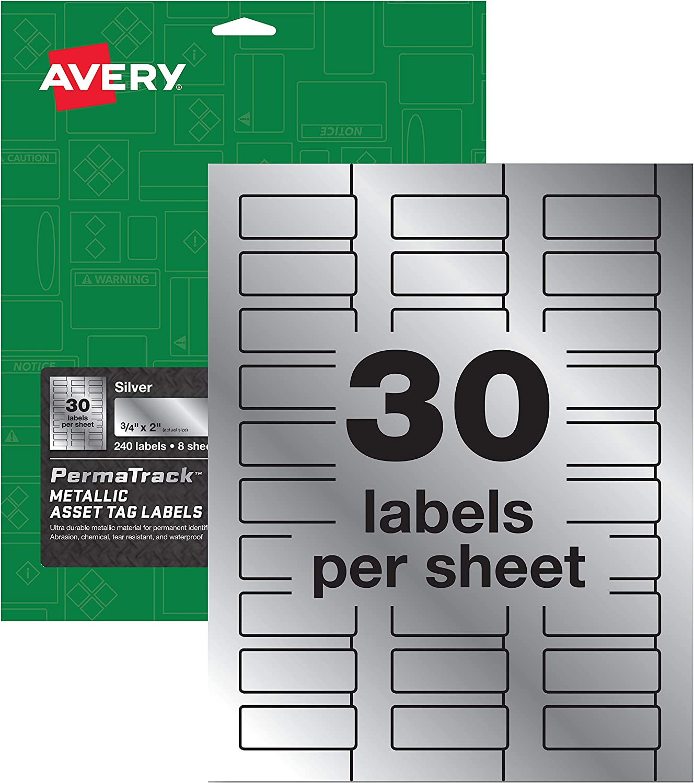"Avery PermaTrack Metallic Asset Tag Labels, 3/4"" x 2"", 240 Labels (61524)"