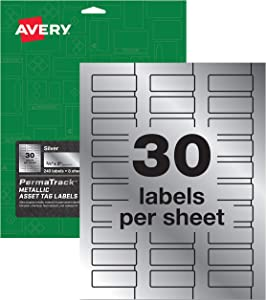 "Avery PermaTrack Metallic Asset Tag Labels, 3/4"" x 2"", 240 Labels (61524)"