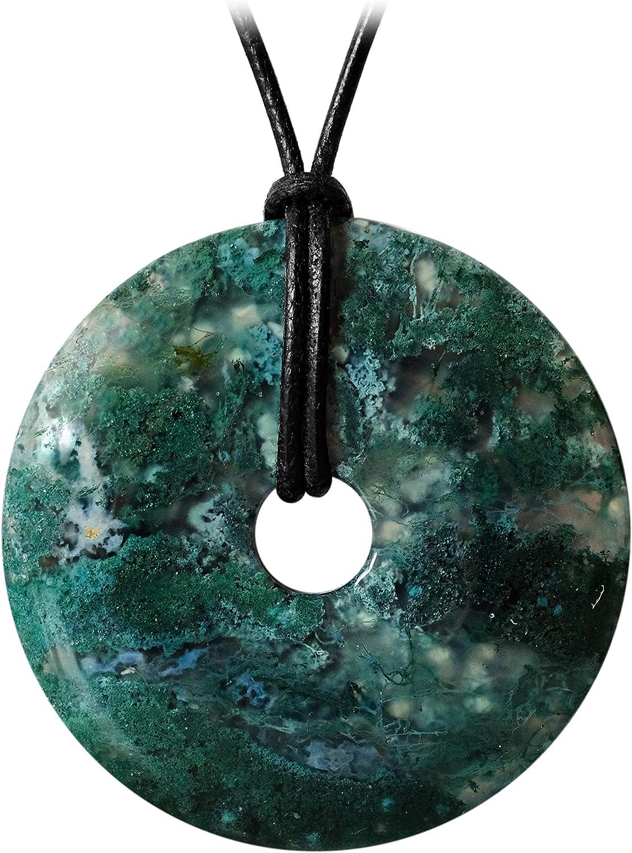 Kaltner Präsente - Collar de piel para hombre y mujer con colgante de donut de piedra preciosa, ágata verde (50 mm de diámetro)