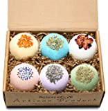 Organic Bath Bombs Gift Set Large 4.5 oz/each – Luxury & Natural Ingredients - Safe for Kids – Relaxing Epsom Himalayan & Dead Sea Salt,Lush Essential Oil – Handmade in USA - Spa Fizzie