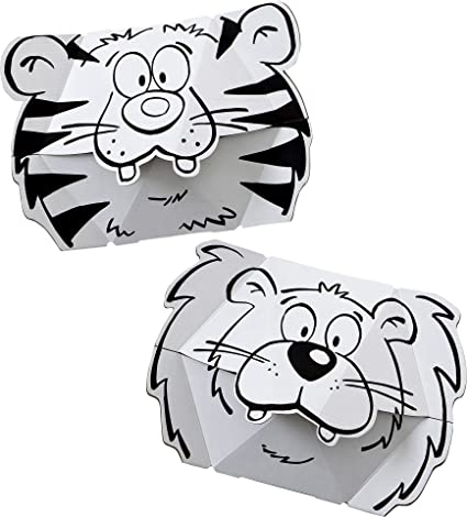 Calafant máscara de cartón para colorear león-tigre F3201X