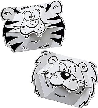 Calafant Máscara De Cartón Para Colorear León Tigre F3201x Amazon