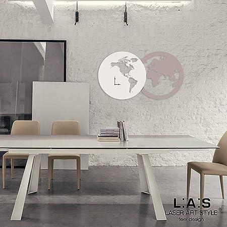 L:A:S Laser Art Style Orologio da Parete Design Moderno per Cucina Salotto  Soggiorno, Legno, Tortora-Panna, 120 x 67 cm