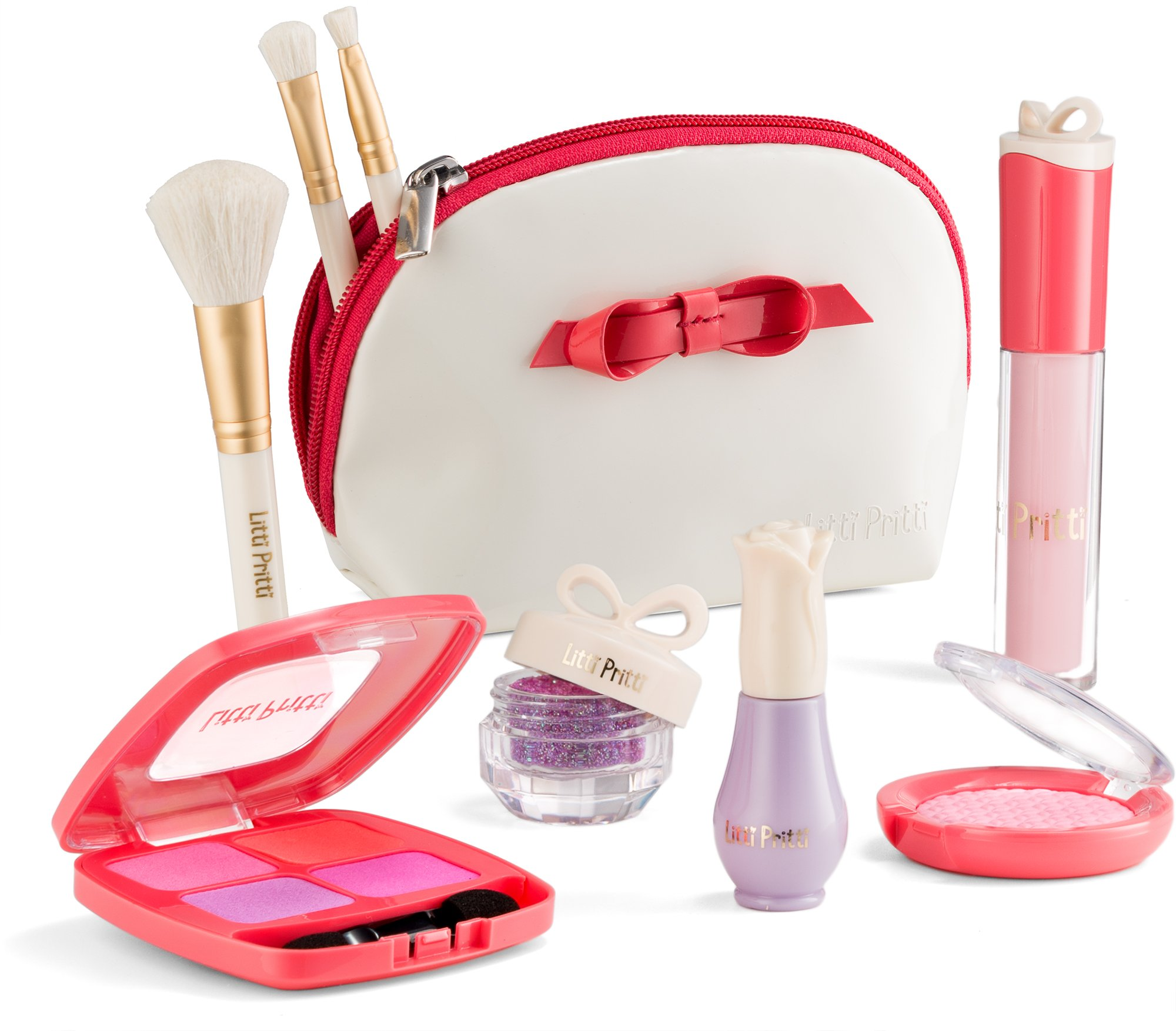 Litti Pritti Pretend Play Makeup for Girls Set - 9 Piece Cosmetic Play Makeup Kit - PU Leather Case