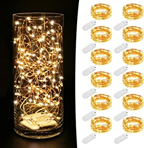 MUMUXI 12 Pack Fairy Lights Battery Operated (Included) 7.2Ft 20 LED Mini Waterproof Fairy String Lights Copper Wire Firefly Starry Lights for Wedding Party Mason Jars Christmas Decoration, Warm White