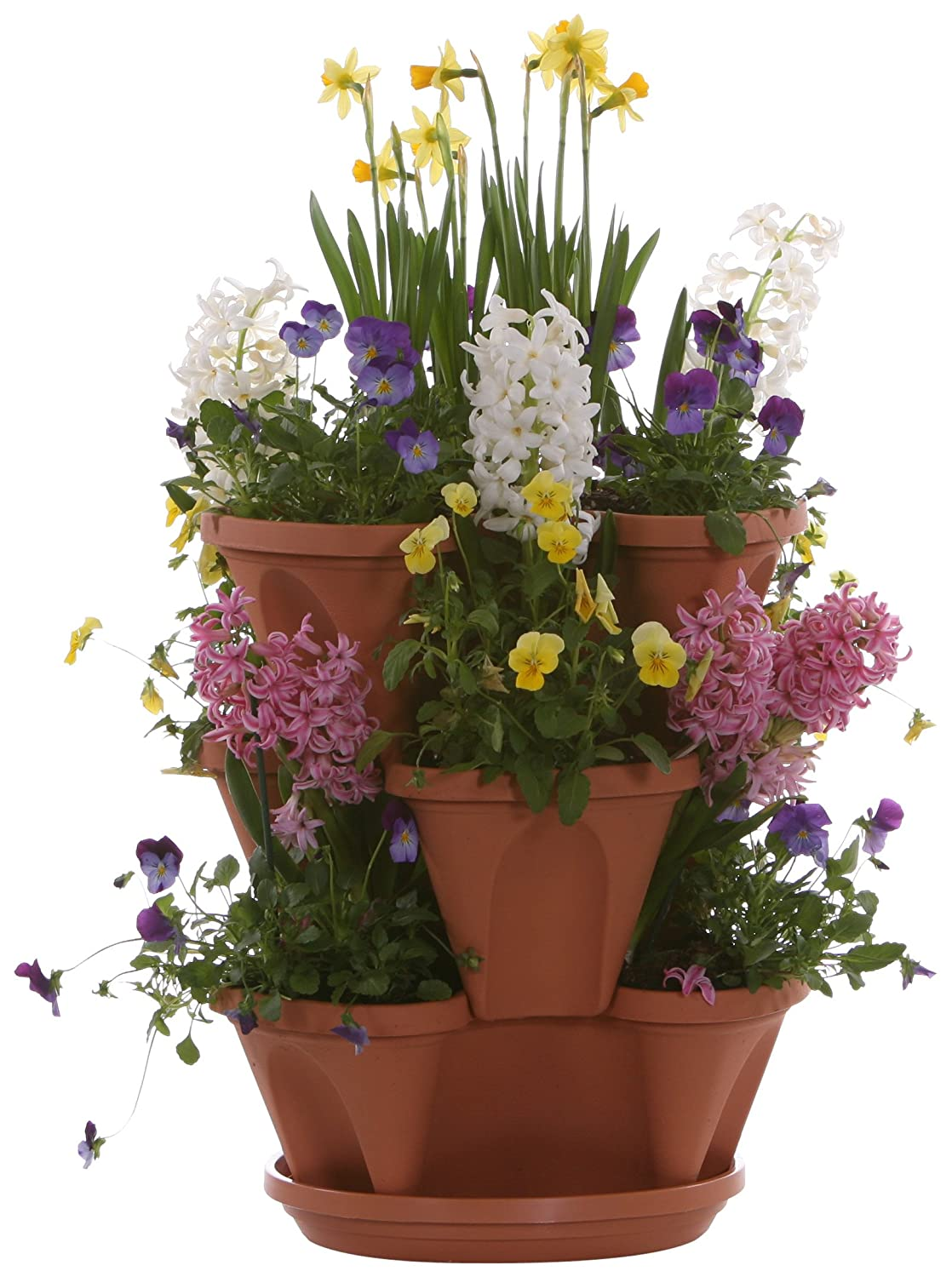 Amazon.com : Terracotta Color 3-Tier Stacking Planter - Vertical ...