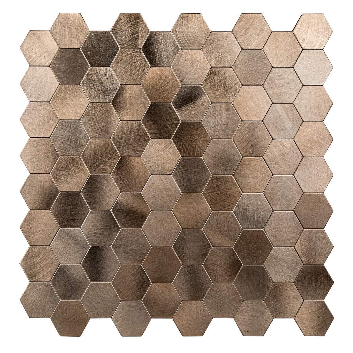Decopus Peel and Stick Tile Backsplash (Honeycomb- Goldish Copper) Stick on Metal Wall Tiles for Kitchen, Bathroom, Cabinet Doors, Accent Walls, 5pack