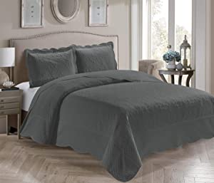 Home Collection 3 Piece King/California King Over Size Embossed Solid Charcoal Color Coverlet Bedspread New # Veronica