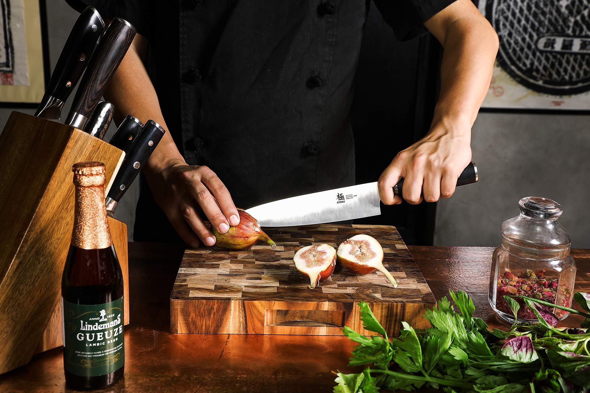 KYOKU Samurai Series - Chef Knife 8'' with Sheath Case - Japanese Steel - Ultra Sharp Blade Ergonomic Pakkawood Handle by KYOKU (Image #2)