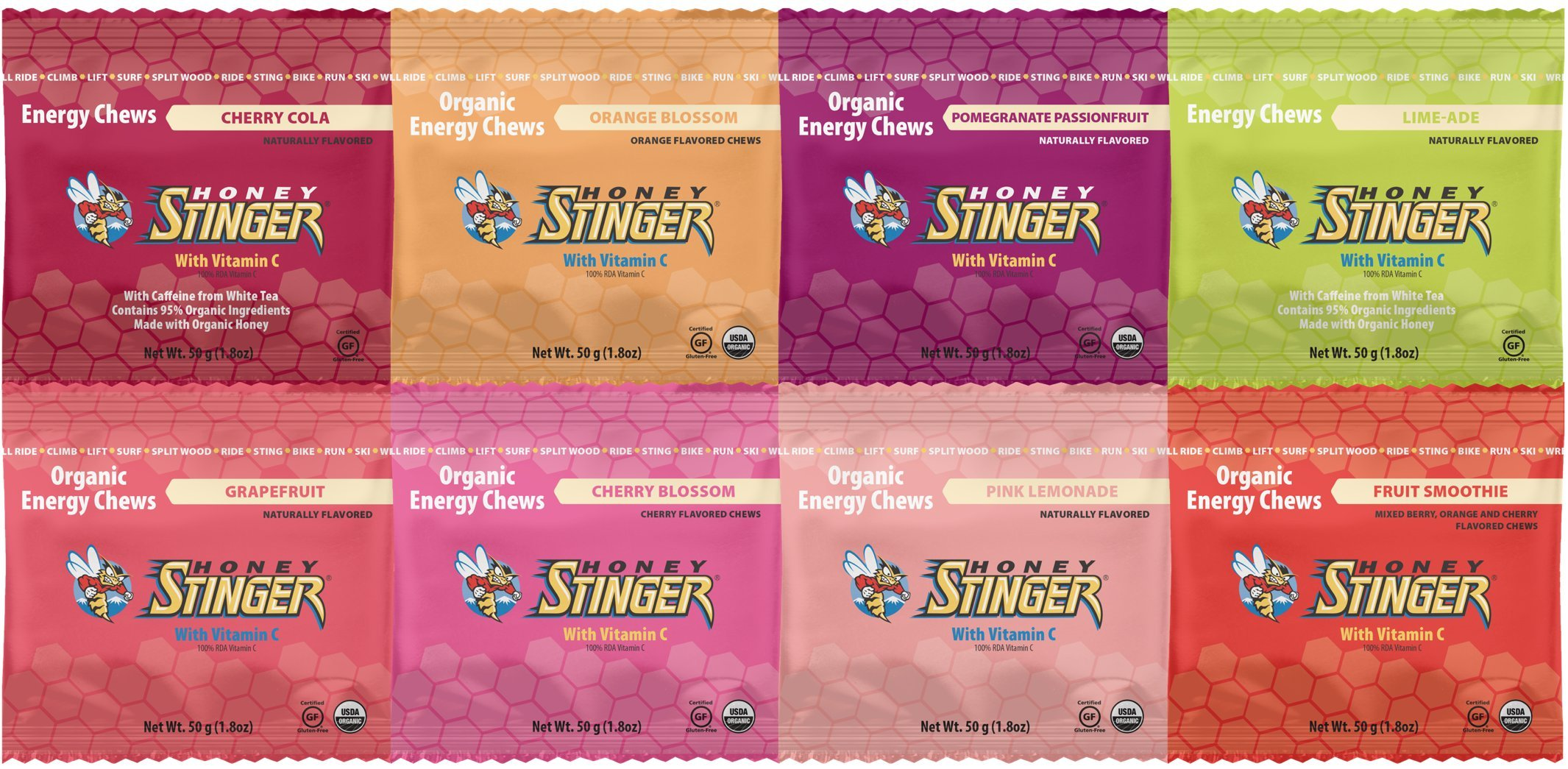 Honey Stinger Organic Energy Chews (8 Count) - Cherry Cola, Orange Blossom, Pomegranate Passion, Limeade, Grapefruit, Cherry Blossom, Pink Lemonade, and Fruit Smoothie - 1.8 oz Package Each