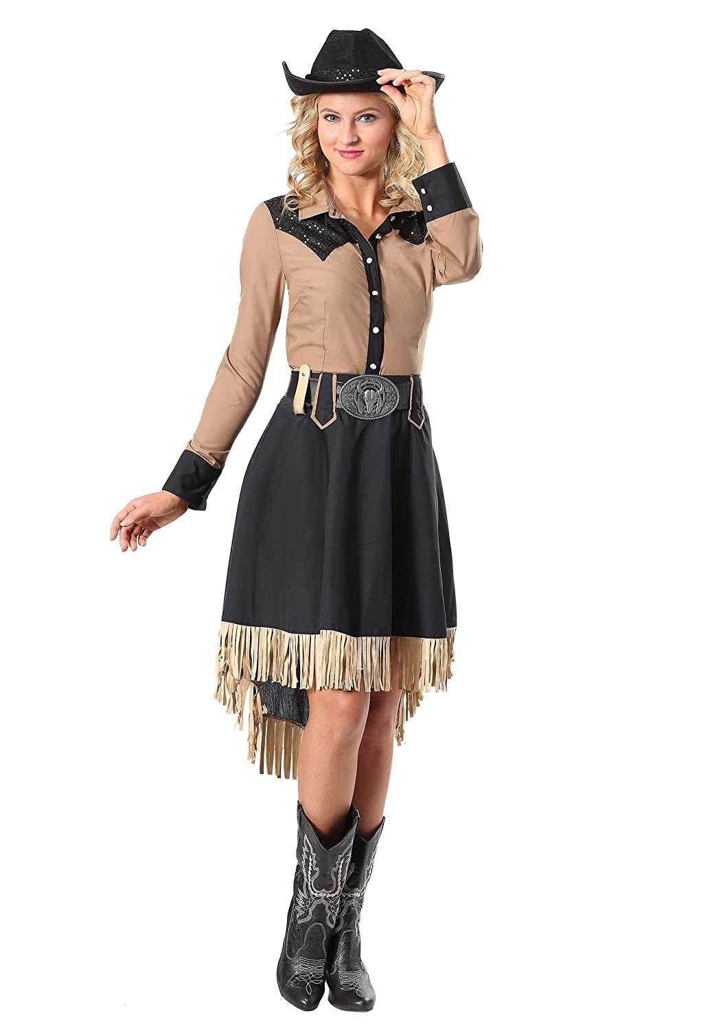 1930s Costumes- Bride of Frankenstein, Betty Boop, Olive Oyl, Bonnie & Clyde Womens Lasson Cowgirl Costume $49.99 AT vintagedancer.com