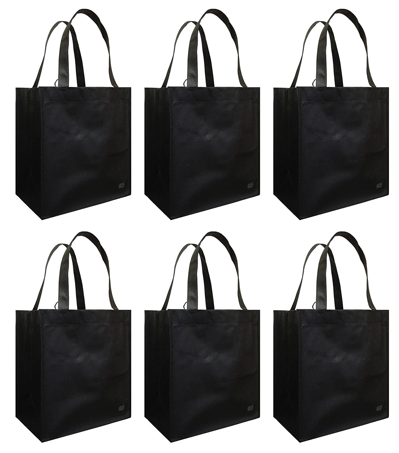 Amazon.com: Reusable Grocery Tote Bag Black 6 Pack: Kitchen & Dining