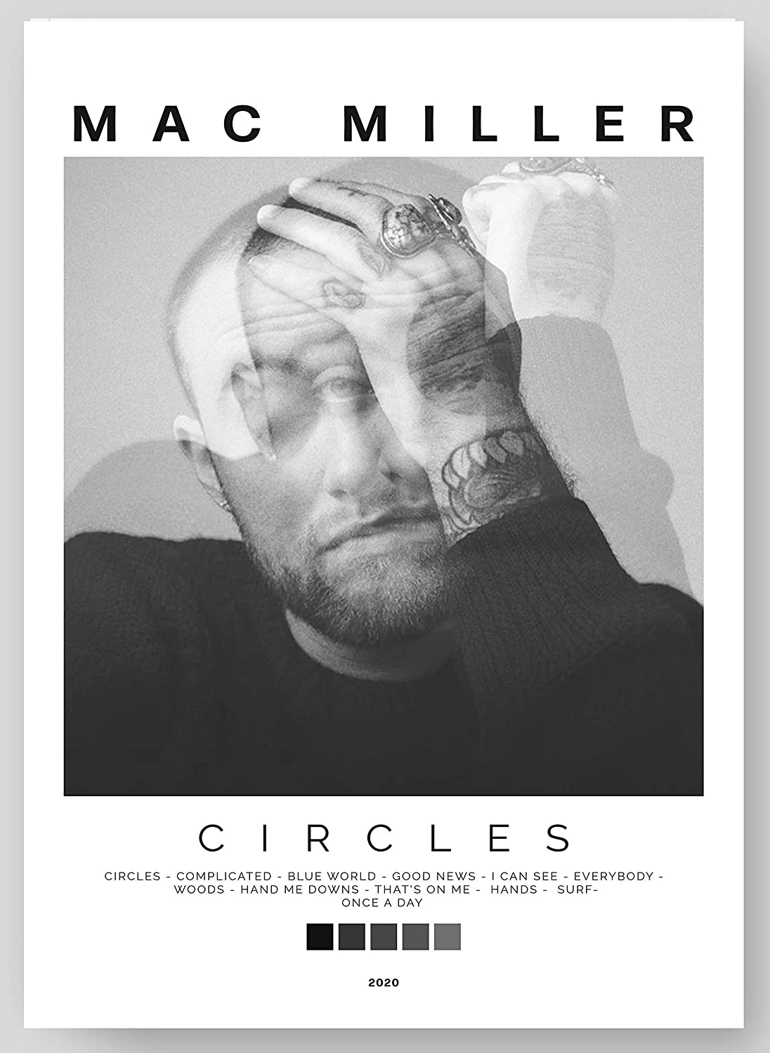 """Mac Miller - Circles Album Cover Poster Print With Track List and Color Tiles - 11"""" x 17"""" inches Ready to Frame - Wall Art"""