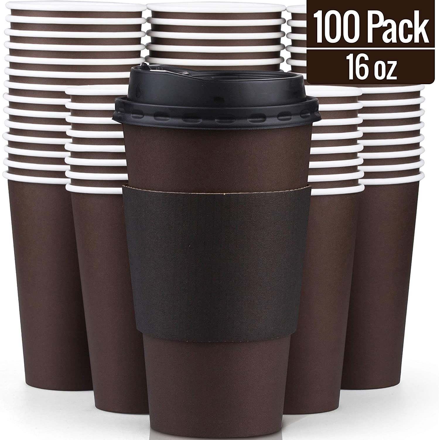 100 Pack Disposable Coffee Cups with Lids 16 oz - Superior Quality 16 Oz Paper Hot Coffee Cups with Sleeves for comfortable Cup holding and tight Lids to prevent leaks