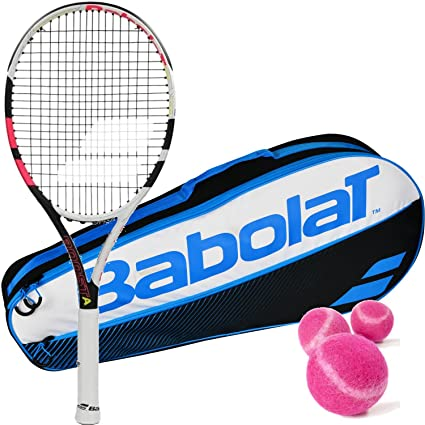 Babolat Boost Aero Black/Pink Entry Level Midplus 16x19 Tennis Racquet Court Ready Kit or Set Kit or Set Bundled with a Tennis Bag and (1) Can of 3 ...