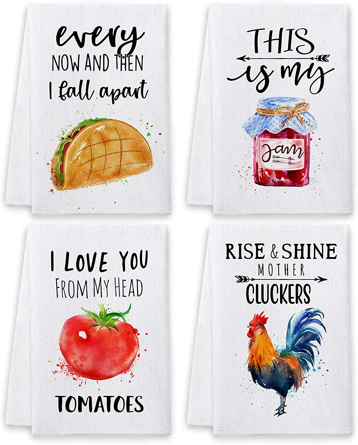 Bonsai Tree Funny Kitchen Towels and Dishcloths Sets of 4, Cute Quotes Dish Towels with Sayings, Fun White Farmhouse Absorbent Tea Towels Housewarming Gifts Decor Essentials for New Home