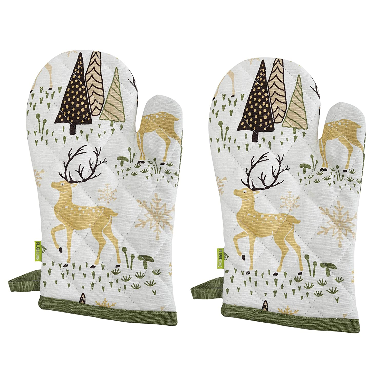 "Set of 2 Oven Mitts - Christmas Forest design, 100% Cotton of Size 7""X12 Inch with high heat resistant polyester filling for Thanks Giving, Christmas & other Holiday Season."