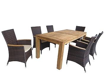 13 Teilige Siena Garden Gartenmöbelgruppe U0026quot;Pailonu0026quot;, 6 Dining  Sessel Luzern Maron