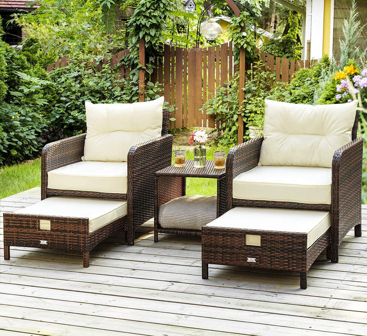 Amazon Com Pamapic 5 Pieces Wicker Patio Furniture Set Outdoor