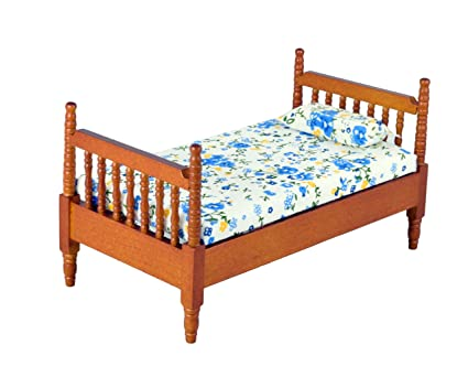 Inusitus Miniature Dollhouse Bed   Dolls House Furniture Queen Bed  1/12  Scale (