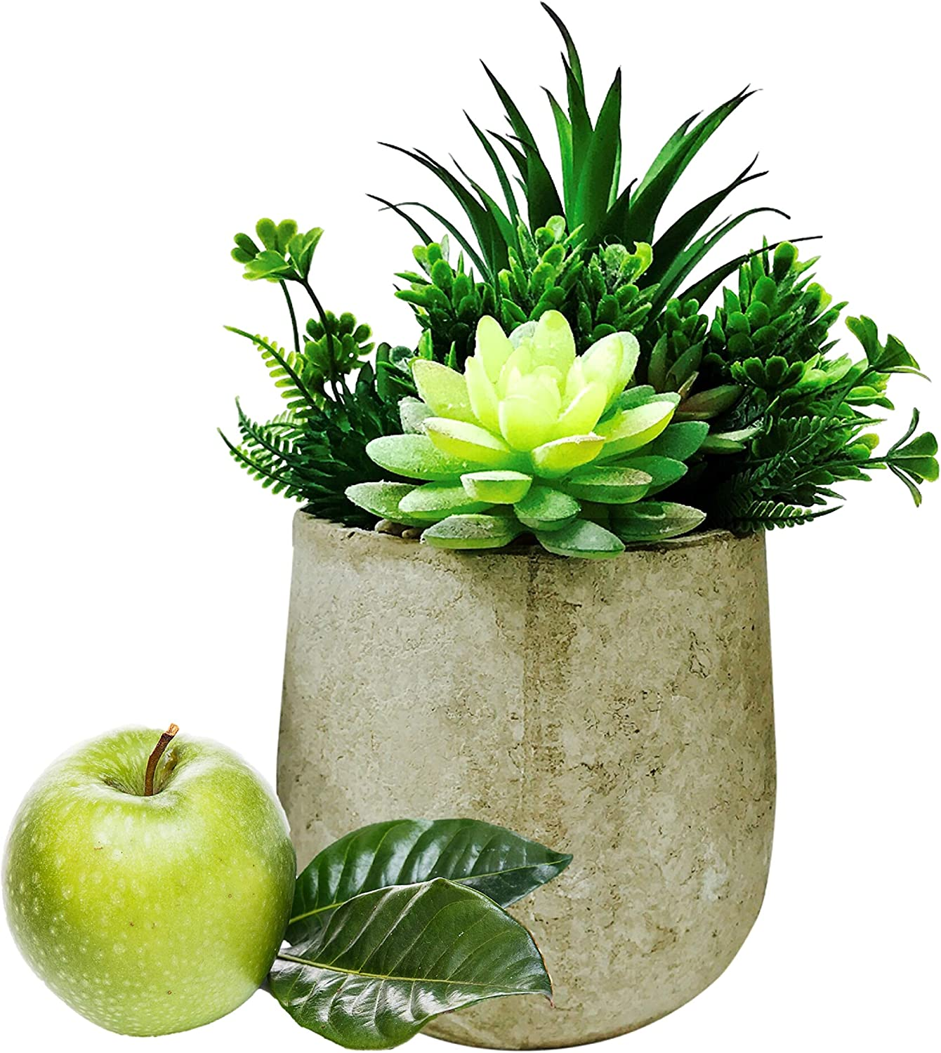 Green Artificial Potted Plants - Artificial Eucalyptus Plants Mixed with Artificial Succulent Plants in Rustic Pot, Potted Fake Plants Faux Eucalyptus for Home & Wedding Decor, Office Desk