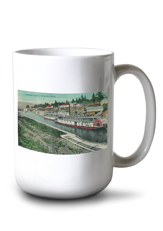 コロンビア川のカスケードのロック 15oz Mug LANT-3P-15OZ-WHT-2222 B077RYSR8L  15oz Mug