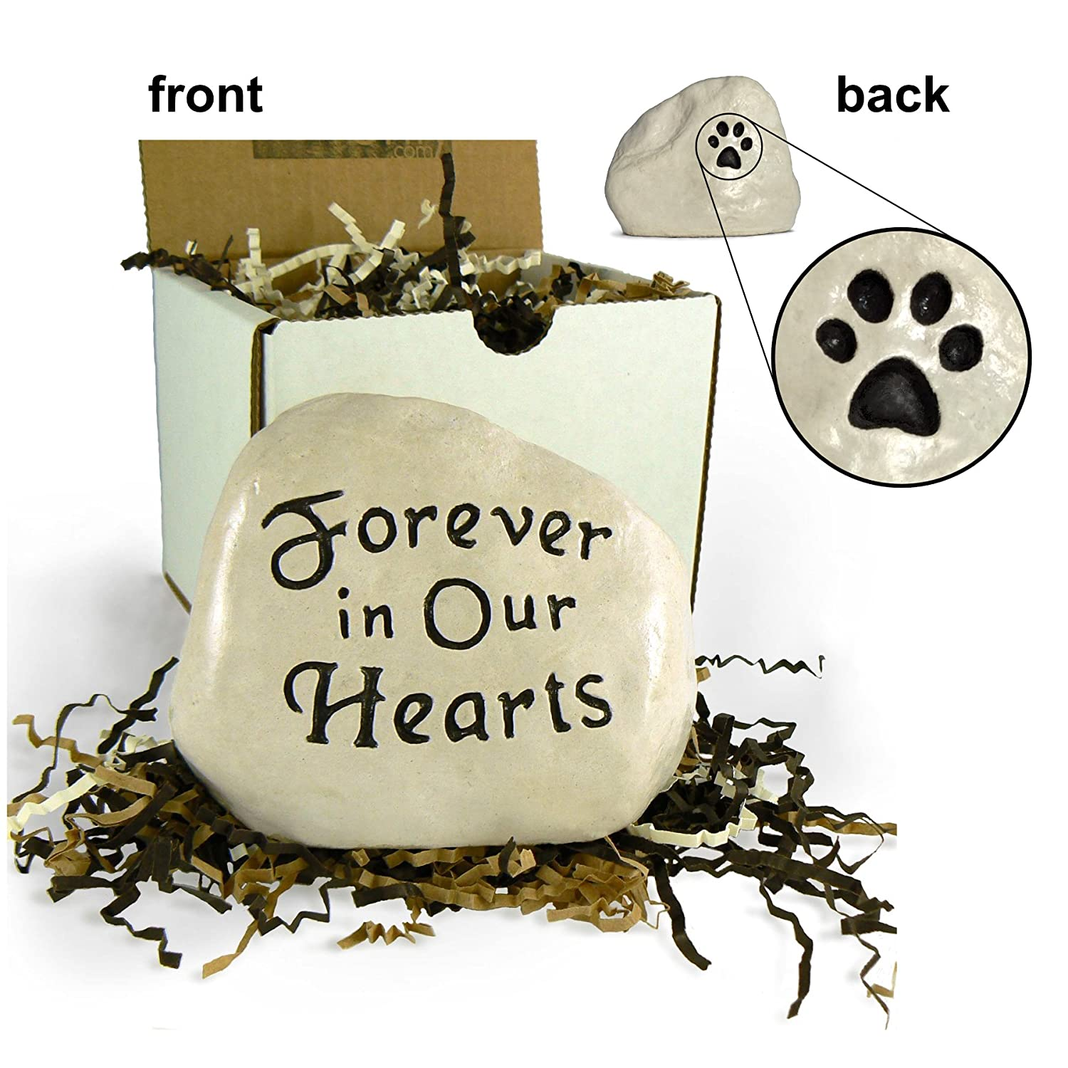 """Forever in Our Hearts"" Engraved in Stone with Paw Print on the Back Hillside Castings"