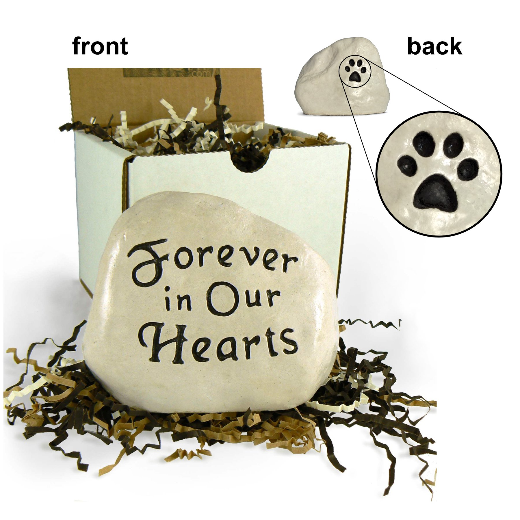 ''Forever in Our Hearts'' Engraved in Stone with Paw Print on the Back (Cat Paw Print)