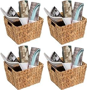 "Trademark Innovations Hyacinth Storage Basket with Handles, Rectangular (Set of 4, 11.5"")"
