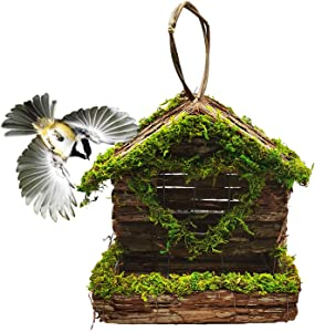 Hamiledyi Bird House for Outdoor Hanging,Bird Nest Garden Patio Decorative Bark Moss Home Crafts for Wren Swallow Sparrow Robin