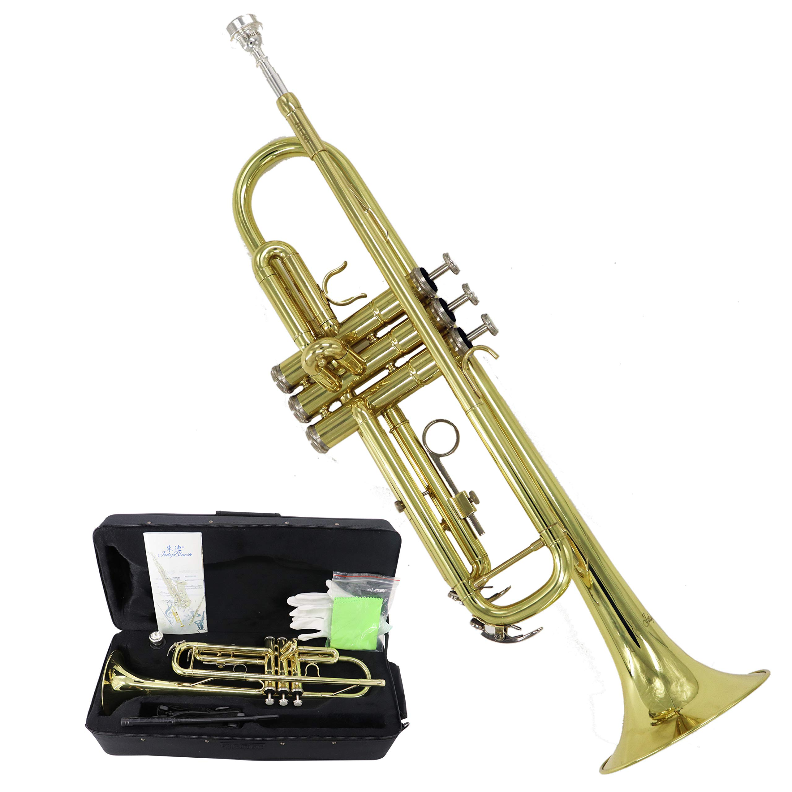 Jody Blues Bb Trumpet Brass JTT-701 with Durable Deluxe Case and 1 Year Warranty,Gold Lacquer