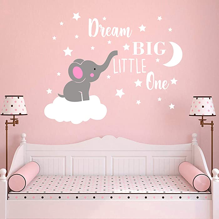 Dream Big Little One Elephant Wall Decal, Quote Wall Stickers, Baby Room Wall Decor, Vinyl Wall Decals for Children Baby Kids Boy Girl Bedroom Nursery Decor Y42 (Soft Pink, White(Girl))