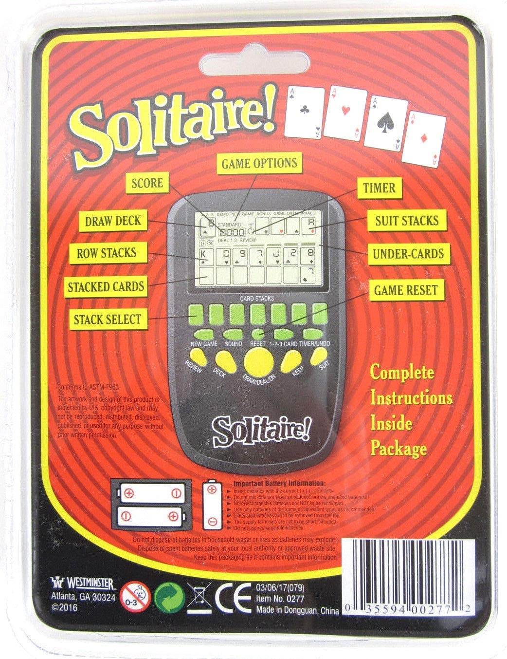 Big Game Toys~Handheld Solitaire Electronic Pocket Arcade Travel Card Game