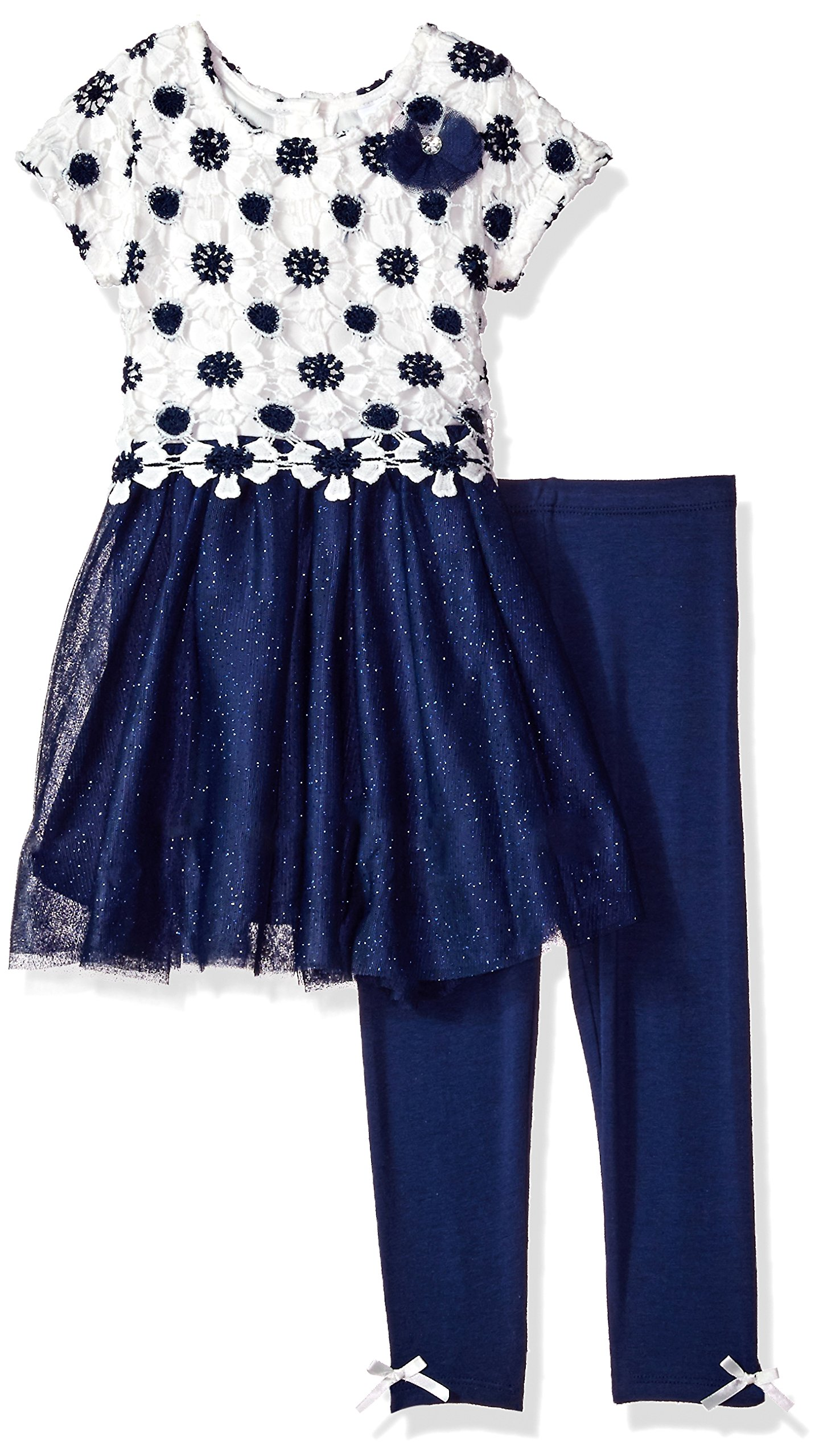 Nannette Toddler Girls' 2 Piece Dressy Top and Legging Set, Navy Blue, 2T