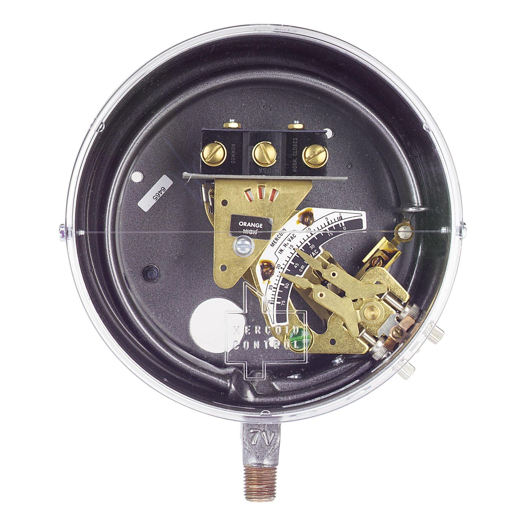 Mercoid® Bourdon Tube Pressure Switch, DS-7231-153-7, Brass, 5-150 psig, SPDT Snap, Adjust