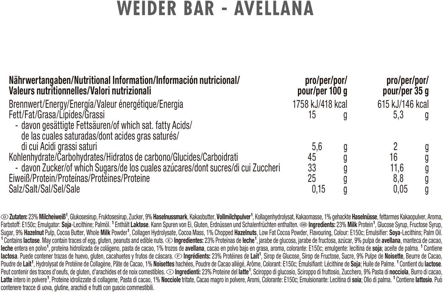 Weider Barrita de Proteína sabor Avellana. Óptima mezcla de hidratos de carbono, proteínas y vitaminas para un abastecimiento de energía rápido y ...