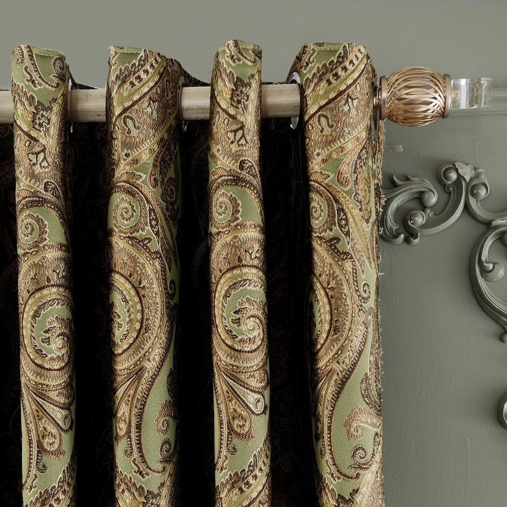 42 Wx84 L Set of 1 panel 20 size available Custom Country Rustic Jacquard Paisley Grommet Top Energy Efficient Window Treatment Draperies Curtains Panels