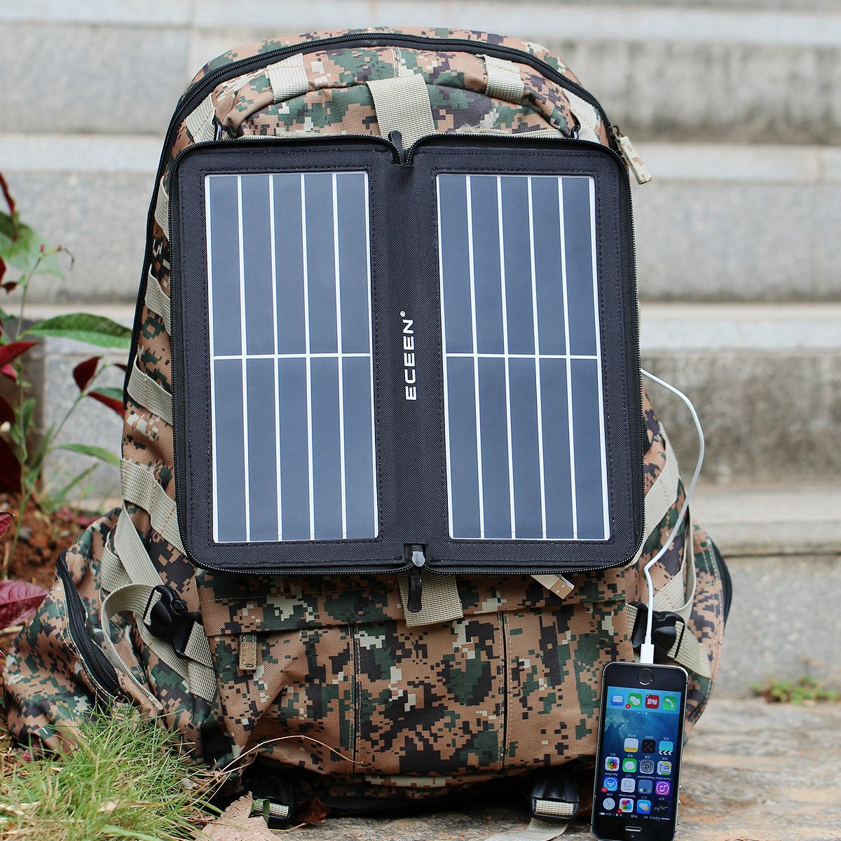 ECEEN Folding Solar Panel Phone Charger With USB Port,Zipper Pack for iPhone, iPad, iPods, Samsung, Android Smartphones Speaker Gopro All 5V USB-Charging Devices (Black) by ECEEN (Image #6)