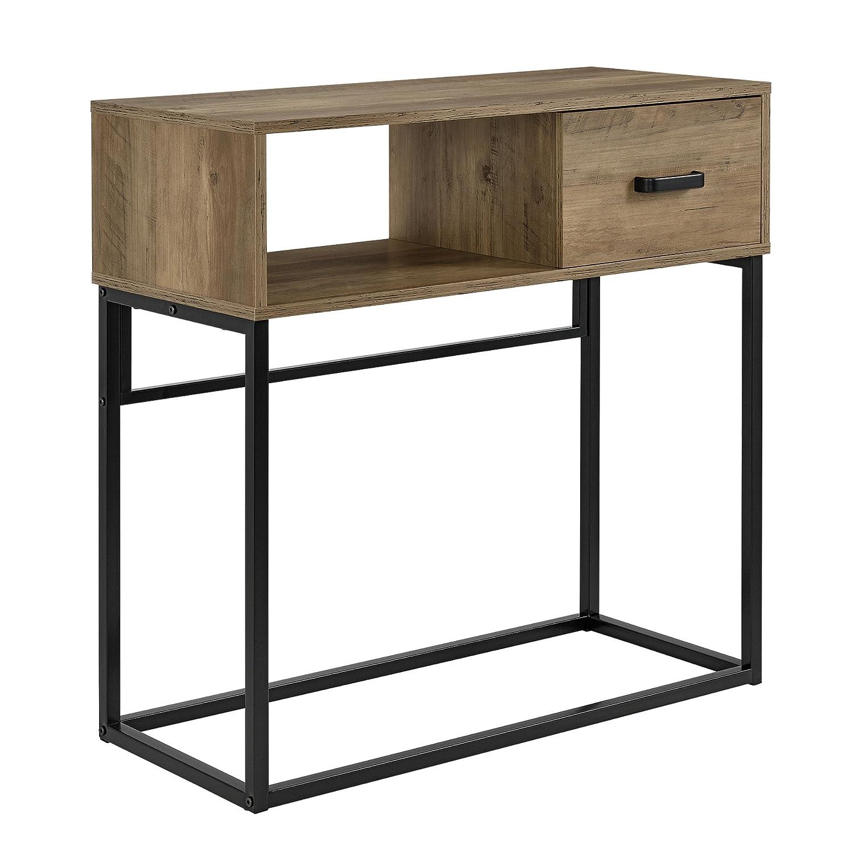 [en.casa]] Tavolo consolle con mensola e cassetto - 80 x 35 x 80 cm scrivania, tavolo cosmetici - nero-noce [en.casa]®