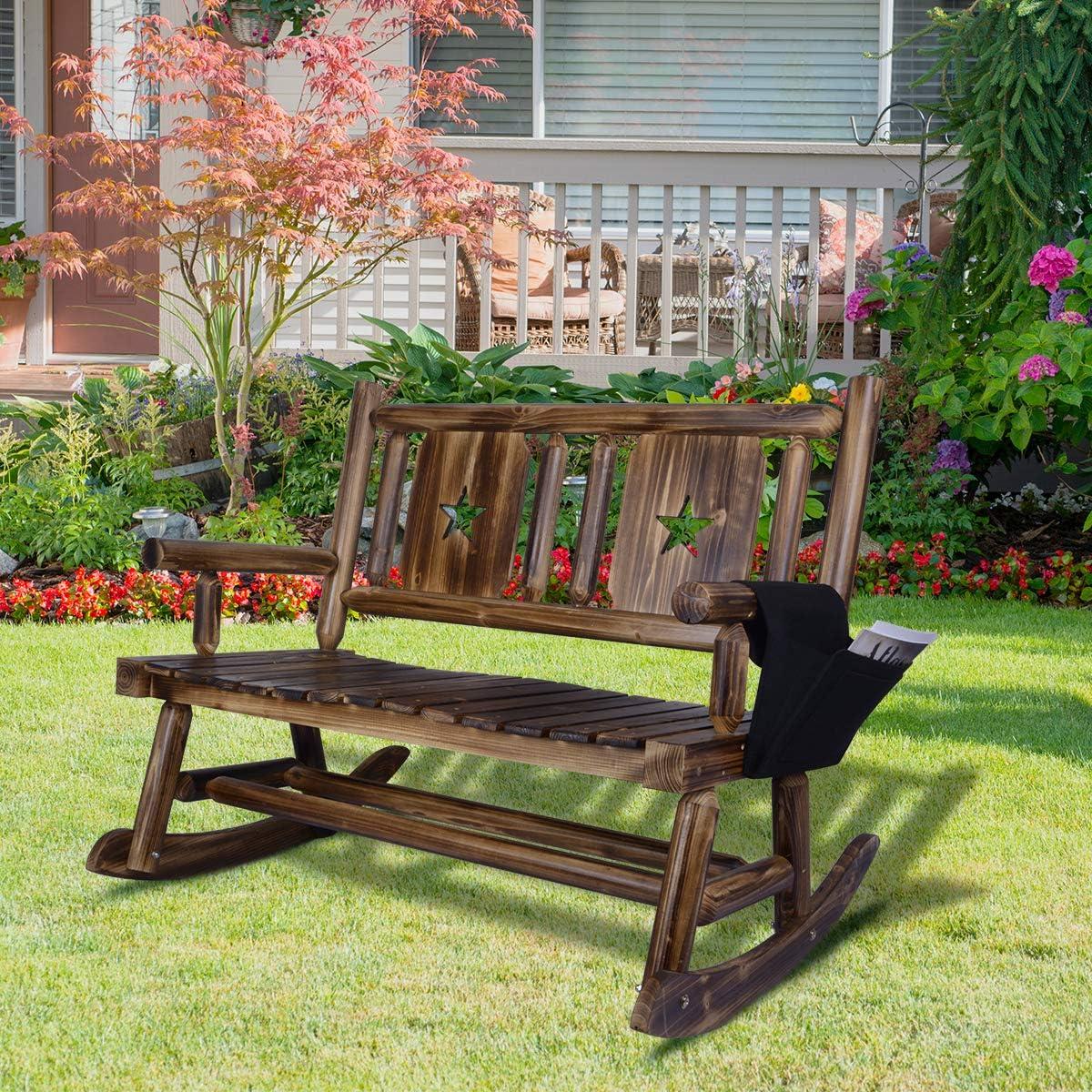 XCSOURCE Mecedora de Madera rústica para Exteriores, sillas de Porche 100% Madera Maciza Natural para salón, Patio, terraza, balcón, Muebles rústicos, Mecedora única para el hogar y el jardín: Amazon.es: Jardín
