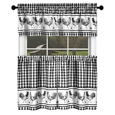 GoodGram Country Home Plaid Rooster Kitchen Curtain Tier & Valance Set - Assorted Colors & Sizes (36 in. Long, Black)